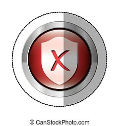 sticker metallic circular button with shield inside with closed symbol shape
