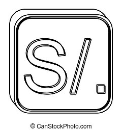 monochrome square contour with currency symbol of sol peru...