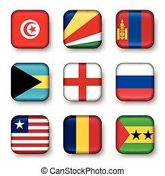 Set of world flags quadrangular badges ( Tunisia ....