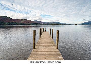 Derwentwater in the Lakes - A wooden jetty on Derwentwater...