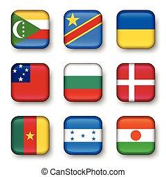 Set of world flags quadrangular badges ( Comoros ....