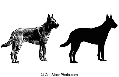 german shepherd dog silhouette and sketch illustration -...