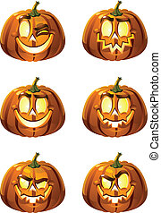Halloweens pumpkins - Six vector fun and terrible smileys -...