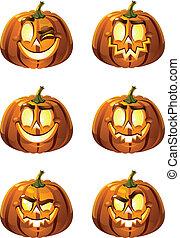 Halloween's pumpkins - Six vector fun and terrible smileys -...