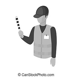 Parking attendant icon in monochrome style isolated on white...