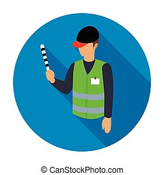 Parking attendant icon in flat style isolated on white...