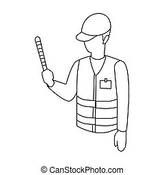 Parking attendant icon in outline style isolated on white...