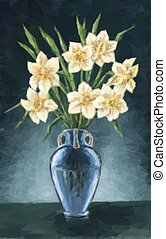 Vase with Narcissus Flowers - Flowers Narcissus Bouquet in a...