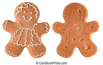 Gingerbread girl isolated on white - Two side of Gingerbread...