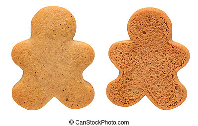 Undecorated Gingerbread Man Cookie isolated on white with...