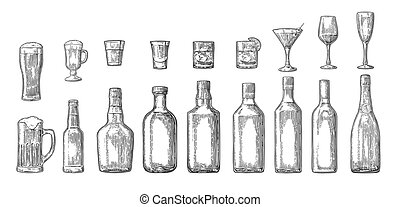 Set glass and bottle beer, whiskey, wine, gin, rum, tequila,...