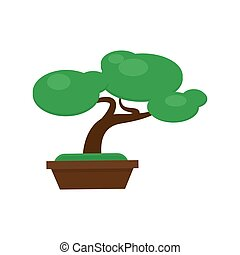 Bonsai pine tree vector illustration. Miniature japanese...