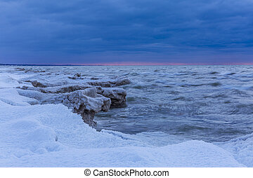 Lake Huron Shoreline at Twilight in Winter - Grand Bend,...