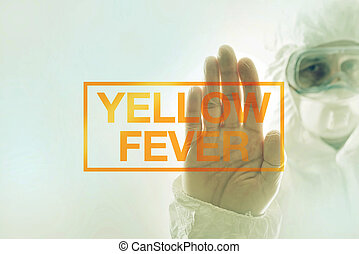Yellow fever quarantine concept with medical scientist in...