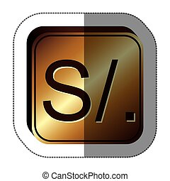 sticker golden square with currency symbol of sol peru...