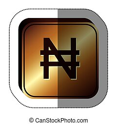 sticker golden square with currency symbol of nigerian naira...