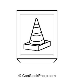 monochrome contour with frame with striped traffic cone