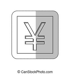 middle shadow monochrome square with currency symbol of...