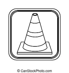 monochrome contour square with striped traffic cone vector...