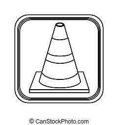monochrome contour square with striped traffic cone