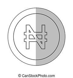 middle shadow monochrome circle with currency symbol of...