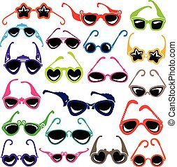 Colorful sunglasses icon set isolated on white background.