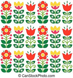 Swedish floral retro pattern - traditional folk art design -...