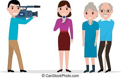 Cartoon journalist interviewing elderly - Vector...