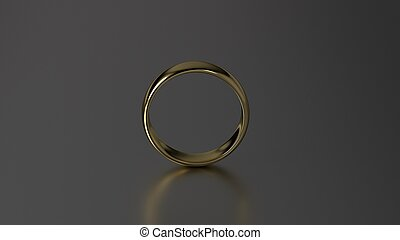 The beauty gold wedding ring on black background. 3d rendering