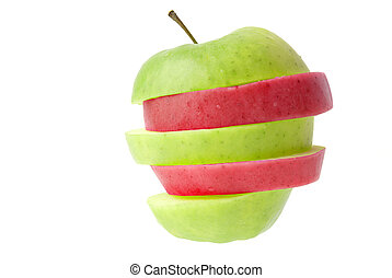 Red and green sliced apple isolated on white background