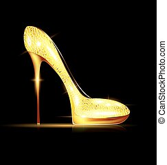 large yellow jewel shoe - dark background and the golden...