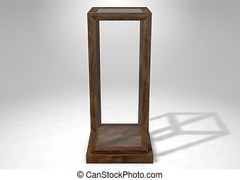 Glass Display Case Verticle - An empty verticle glass...