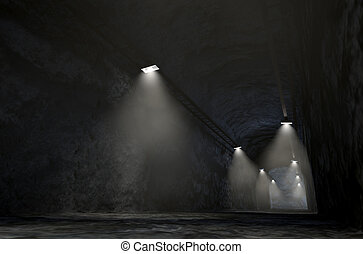 Mine Shaft - A look down the shaft of a rock mine spotlit by...