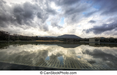 fountain reflections in jeju stone park museum - reflections...