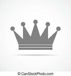 Gray crown icon. Vector illustration. - Gray crown icon....