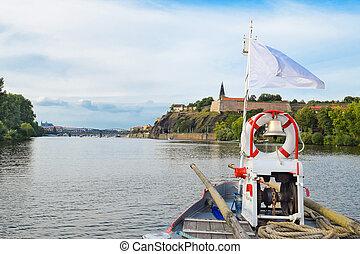 The bridge of the boat on the Vltava river, Prague, Czech...