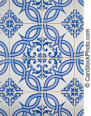 Portuguese glazed tiles. - Detail of Portuguese glazed...