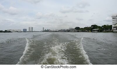 Boat travel on the Chao Phraya river - Bangkok, Thailand -...