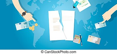 Cancel TPP Trans-Pacific Partnership agreement tear contract paper document