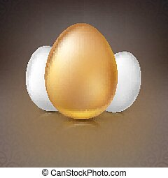 Golden and white Easter eggs, vector illustration. - Golden...