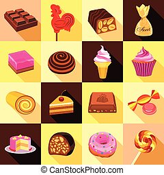 Sweets, chocolate and cakes icons set, flat style - Sweets,...