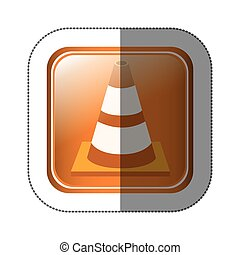sticker square button with striped traffic cone with shading...