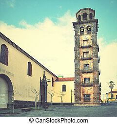 Church de la Concepcion with leaning bell tower in San...
