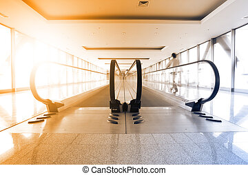 Perspective of escalator - Perspective of corridor and...