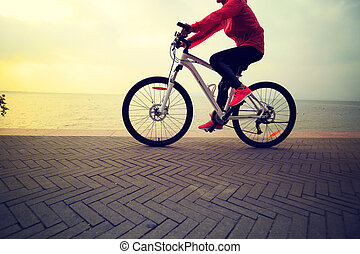 one young woman riding bike on seaside