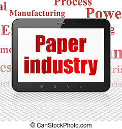 Industry concept: Tablet Computer with Paper Industry on...