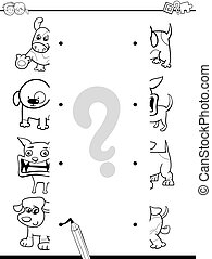 matching halves coloring page - Black and White Cartoon...