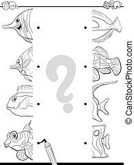 matching halves for coloring - Black and White Cartoon...