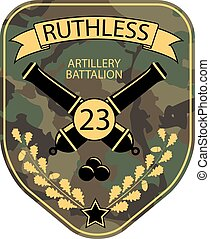 Artillery military emblem patch with cannons, ribbon and oak...