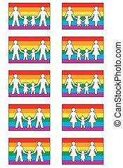 LGBT Family Icons - LGBT family icons on pride flag colored...